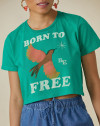T-SHIRT CROPPED BORN TO FREE