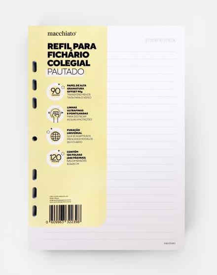 MACCHIATO REFIL DE FICHÁRIO COLEGIAL - MIOLO PAUTADO