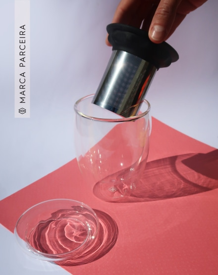 MONCLOA COPO DE VIDRO COM INFUSOR MOODY DUO GLASS 300 ML