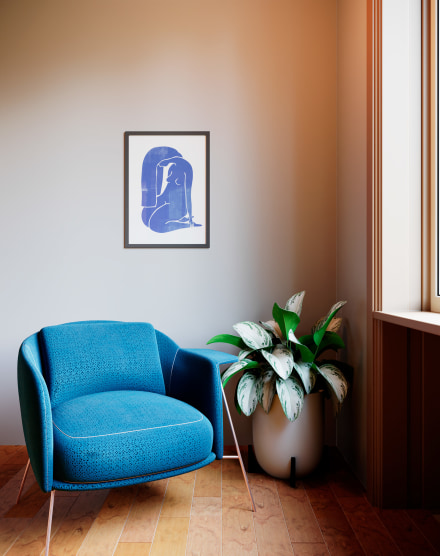 OBRAH POSTER WOODBLOCK GIRL BLUE - 42 X 59,4CM