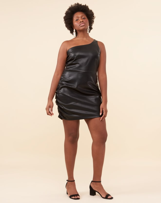VESTIDO LEATHER FRANZIDO LATERAL