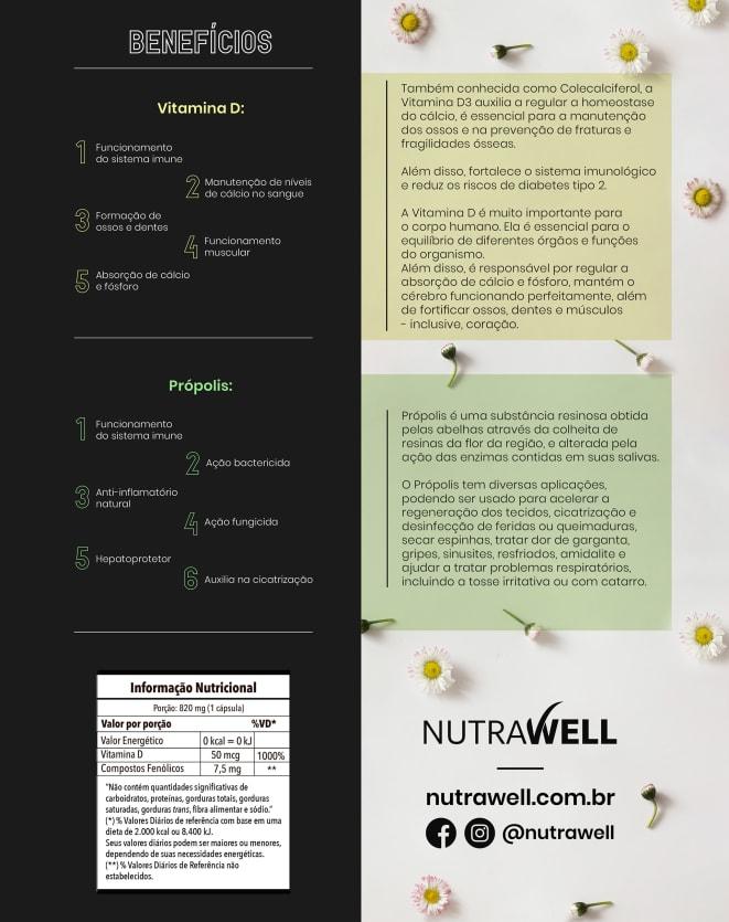 NUTRAWELL VITAMINA D COM PRÓPOLIS- 30 CAPS
