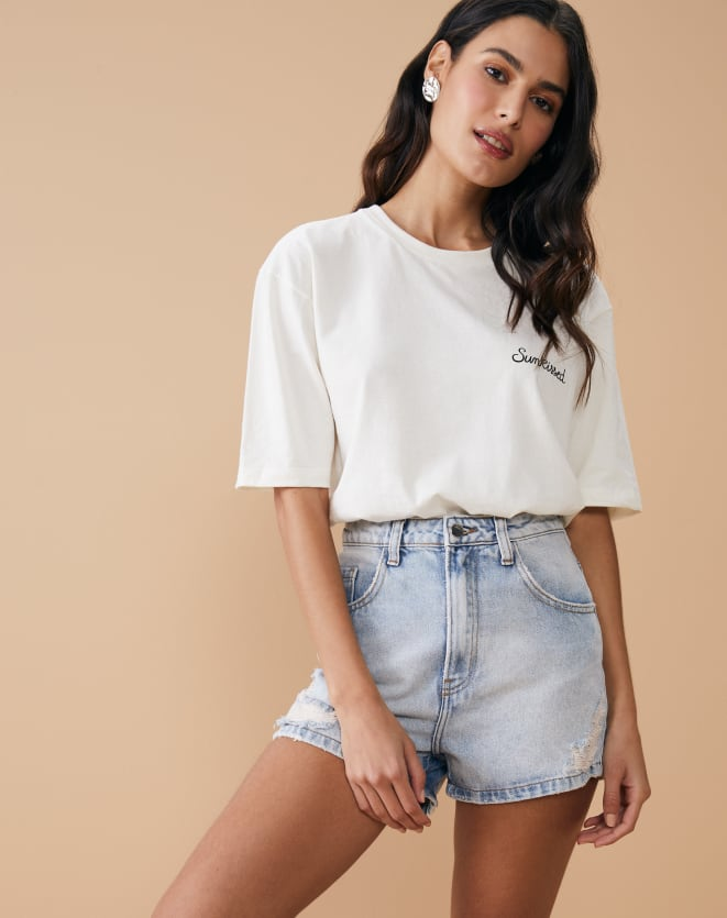 SHORTS JEANS MOM COM PUIDOS
