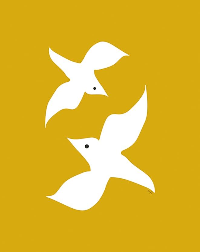 OBRAH POSTER LOVE BIRDS IN MUSTARD - 42 X 59,4CM