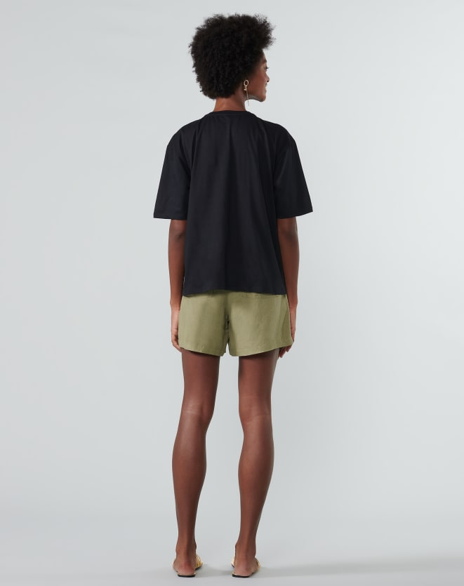 T-SHIRT OVERSIZED TROPICAL POSTER PRETO
