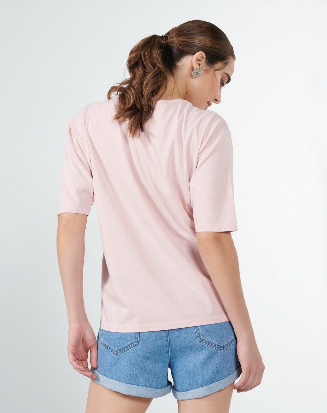 T-SHIRT OVERSIZED TROPICAL POSTER ROSA