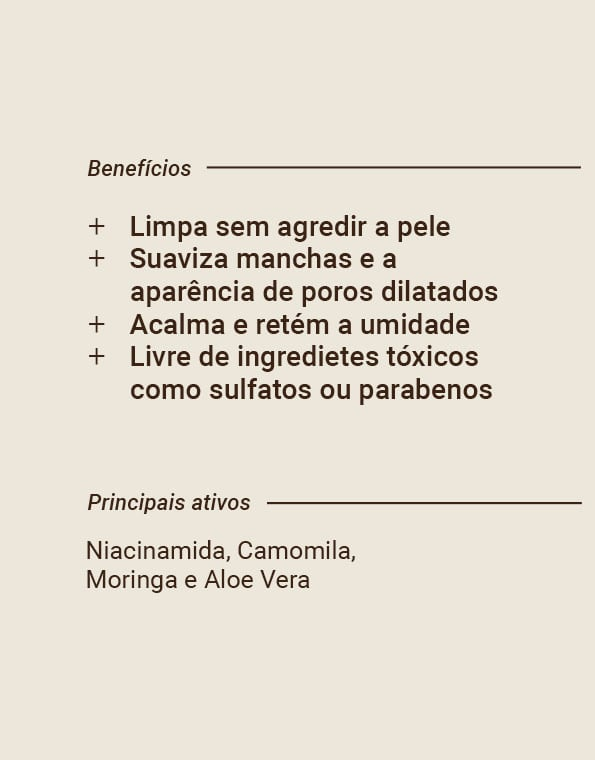BEAUTS GEL DE LIMPEZA FACIAL COM NIACINAMIDA, CAMOMILA, MORINGA E ALOE VERA - 120 ML