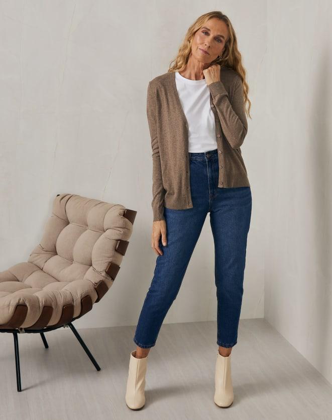 T-SHIRT SLIM DE ALGODÃO PIMA GOLA REDONDA