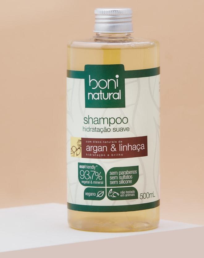 BONI NATURAL SHAMPOO NATURAL E VEGANO COM ARGAN E LINHAÇA - 500ML