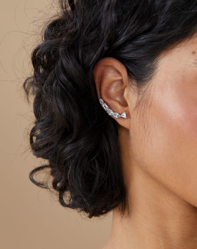 EAR CUFF ESSENTIAL CRISTAIS SHAPES FOLHEADO