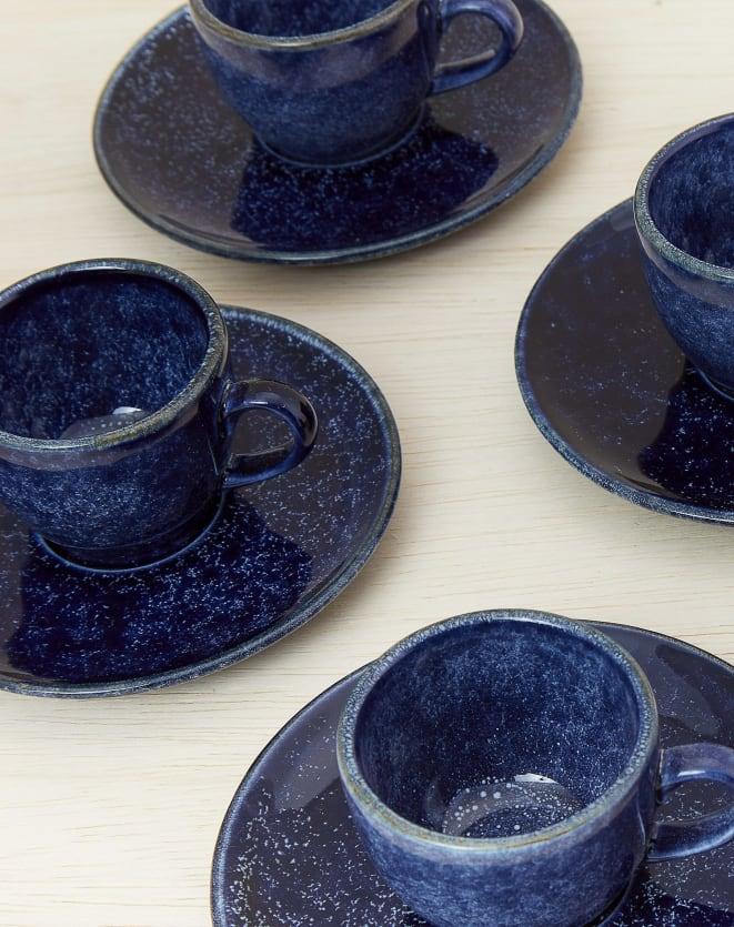 JOGO 6 PEÇAS XÍCARA DE CAFÉ BLUEBERRY