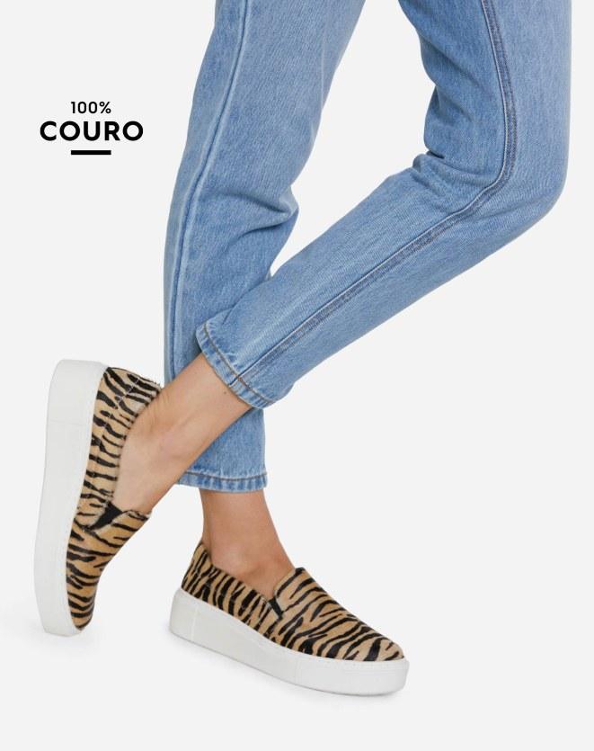 TÊNIS DE COURO SLIP ON