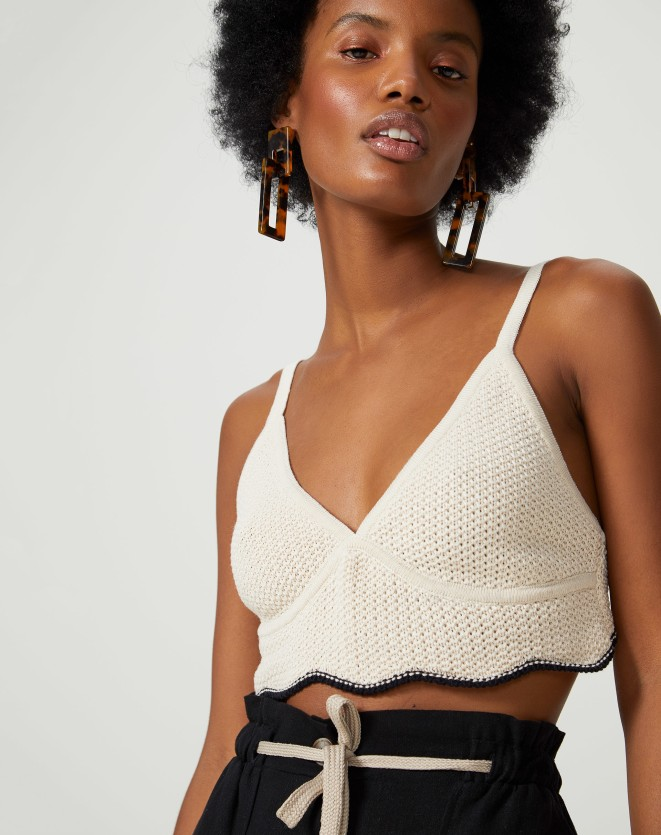 TOP CROPPED TRICOT PONTO CROCHET