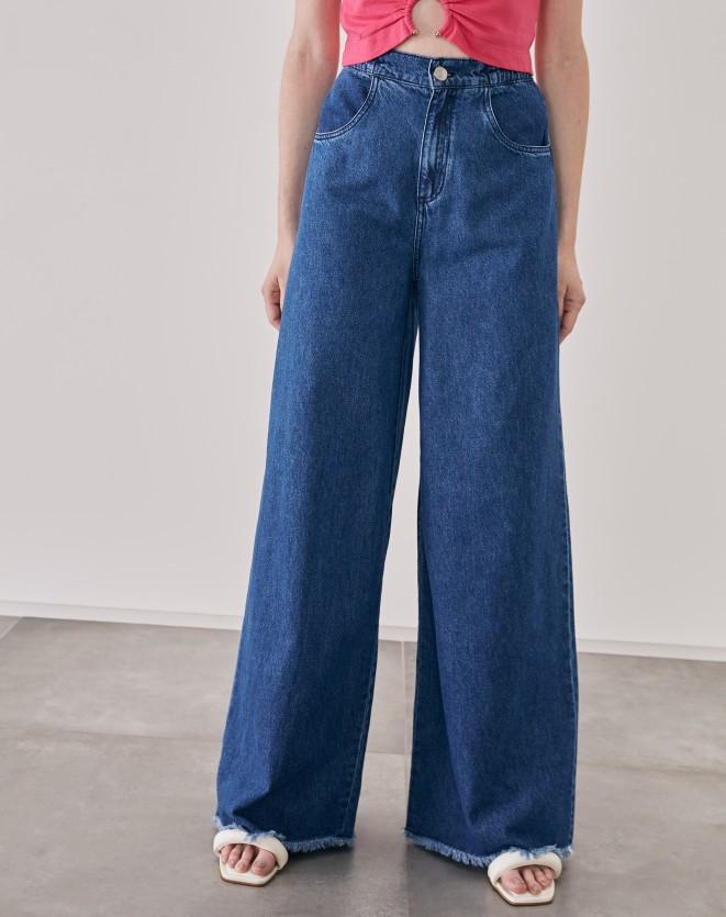 CALÇA JEANS WIDE COM ELÁSTICO