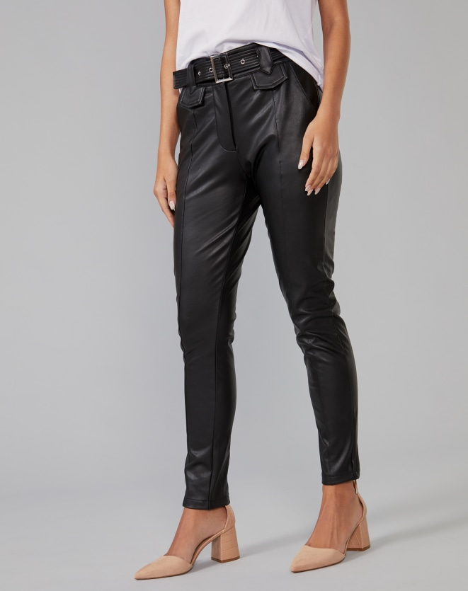 CALÇA LEATHER CINTURA ALTA COM CINTO